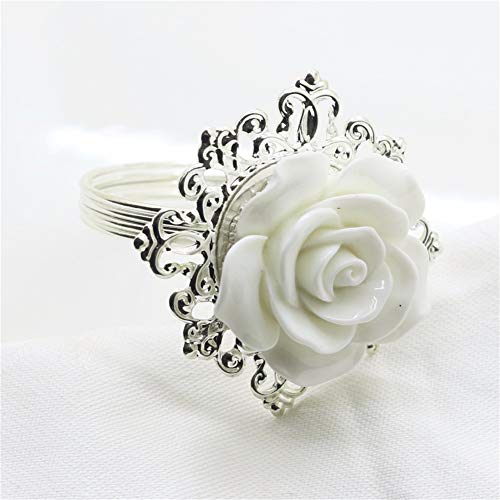 Pack of 6 White Resin Rose Napkin Ring Buckle for Party Entertain Wedding Napkins Cloth Decorative Deduction Table Banquet Dinner