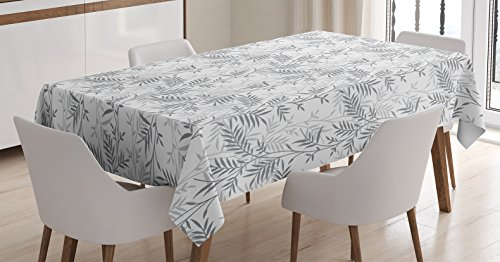 Grey Decor Tablecloth by Ambesonne, Fancy Swirling Branch an