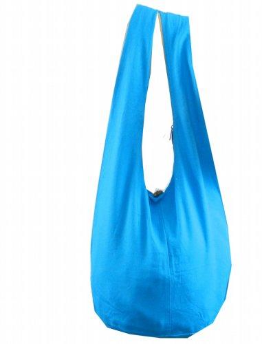 BTP! Thai Monk Buddha Cotton Sling Crossbody Messenger Bag Shlouder Purse Hippie Hobo Medium (Sky Blue M13)