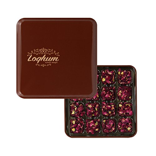 Loqhum Turkish Delight - Pistachio with Pomegranate Flavor - Covered with Rose Petals - Authentic Turkish Lokum in a Premium Tin Gift Box - 16 pcs