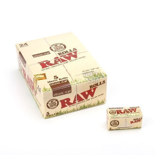RAW Natural UNREFINED Hemp ORGANIC Rolling paper ROLLS 1 box - 24 x 5m - Roll Papers Rolling
