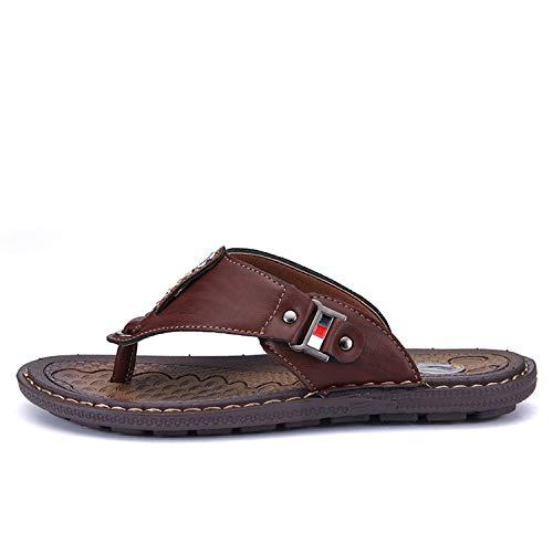 The small cat Summer Men Flip Flops Beach Sandals Non-Slip Mens Slippers,Brown,6