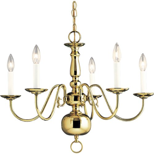Progress Lighting P4355-10 5-Light Americana Chandelier with Delicate Arms and Decorative Center Column and Candelabra Lamps, Polished Brass
