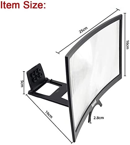 """12"""" 3D Curve Screen Magnifier for Cell Phone, HD Amplifier Projector Magnifing Screen Enlarger for Movies, Videos, and Gaming with Foldable Stand Compatible with All Smartphones (Black, 12 inch) 41iSKFuqJ 2BL"""