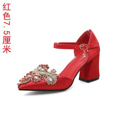 Wedding Red Water The In Women'S Sandals Red Prom Style VIVIOO Shoes Heel 5Cm Chinese 6 Heels Drill Bride Coarse 7 Shoes Shoes 0PAqYx