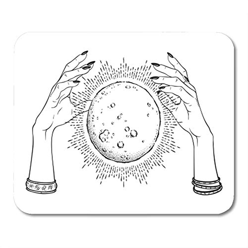 Semtomn Gaming Mouse Pad Full Moon with Rays of Light in Hands Fortune Teller Line and Dot Work Boho 9.5