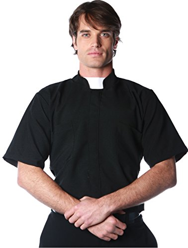 Underwraps Costumes Men's Priest Costume - Short Sleeve Shirt, Black/White, One Size ()
