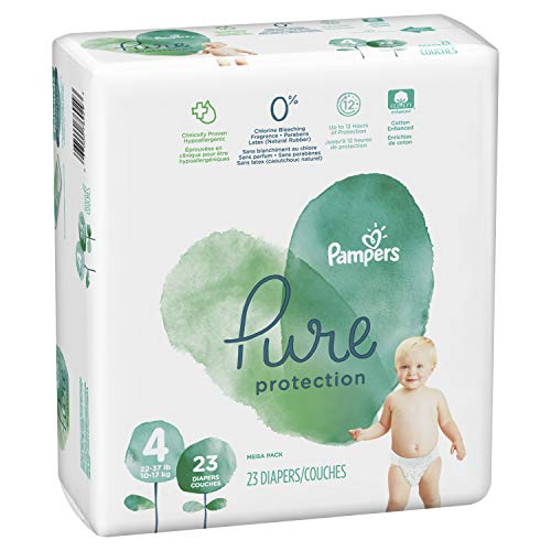 Diapers Size 4, 23 Count - Pampers Pure Protection Disposable Baby Diapers, Hypoallergenic and Unscented Protection, Mega Pack (Old Version)