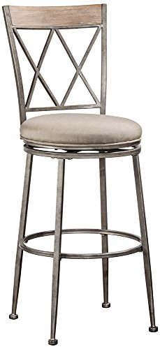 Hillsdale Furniture Hillsdale 6319-826 Stewart Indoor Outdoor Swivel Counter Stool, Aged Pewter