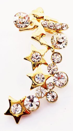 Fashion Gold Plated Metal Diamond Crystals Gem Love Jew Nail Beauty Design Vintage Clip-on Stud Earrings for Men Woman and Boy 931
