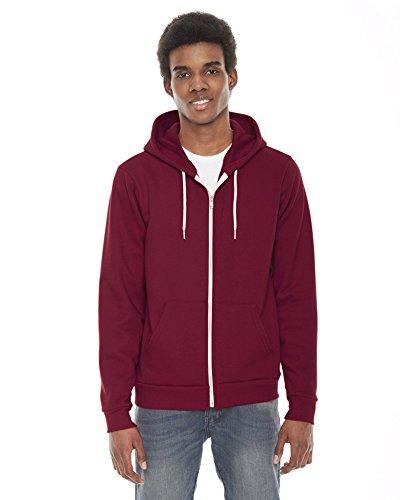 American Apparel Unisex Flex Fleece Zip Hoodie f497 - Cranberry - S