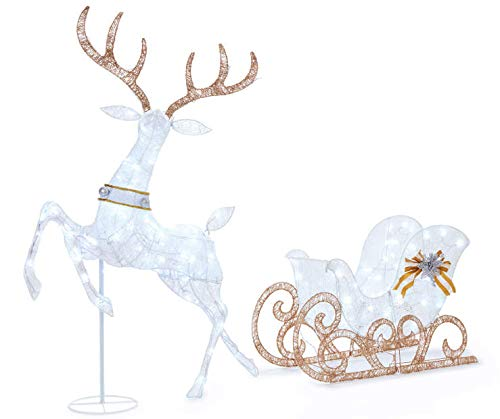 60'' Cool White Splendor Lighted Reindeer Sleigh Display Outdoor Christmas Decoration Seasonal Winter Holiday Yard Art Sculptures
