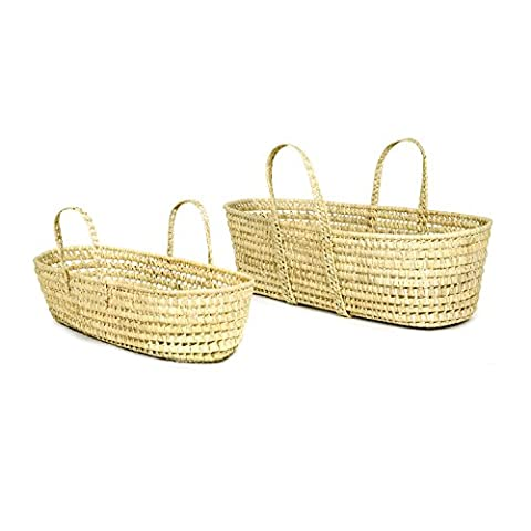 Set of 2 All Natural Pam Leaf Oval Shaped Storage Baskets with Handles - Hand Woven Oval Basket