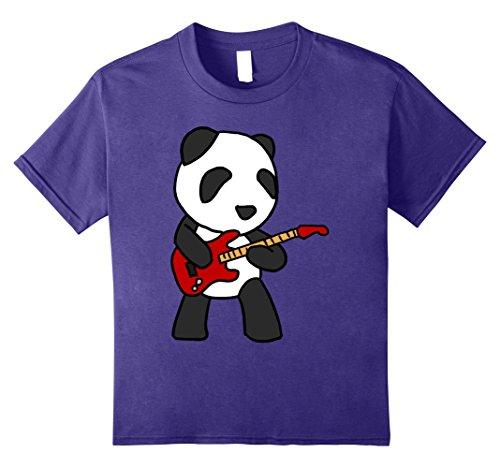 Kids Panda Playing Guitar Rock Guitarist Cartoon Animal T-Shirt 12 Purple (Rock Kids T-shirt Animal)
