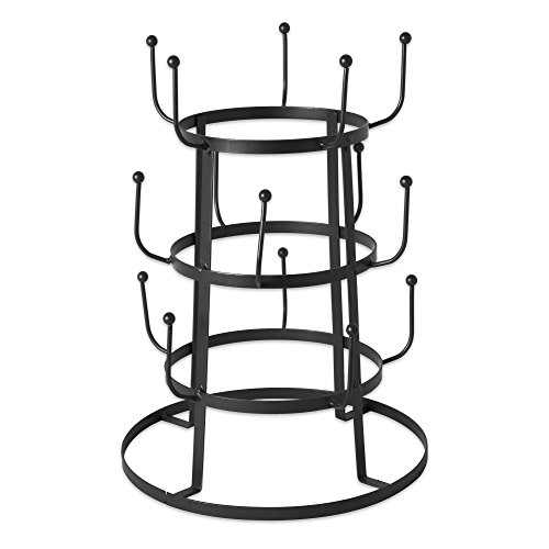 Home Traditions 3 Tier Countertop or Pantry Vintage Metal Wire Tree Stand for Coffee Mugs, Glasses, and Cups, 15 Mug Capacity, Black
