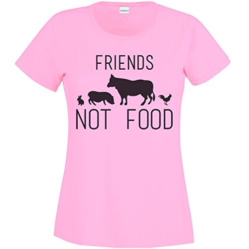 Friends Not Food, Vegan Women's T-Shirt - L Pink, S