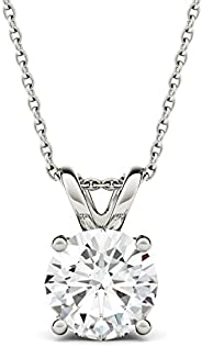 Forever One Round 8.0mm Moissanite Pendant Necklace, 1.90ct DEW (D-E-F) by Charles & Col