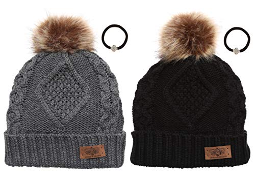 Women's Winter Fleece Lined Cable Knitted Pom Pom Beanie Hat with MIRMARU Hair Tie.(Black&Charcoal)