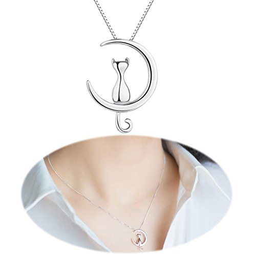 Cat Moon Studs Earrings Necklace Mini Ear Crawler Climbers Crescent Cute Kitten Collarbone Mirror Jewelry Necklace