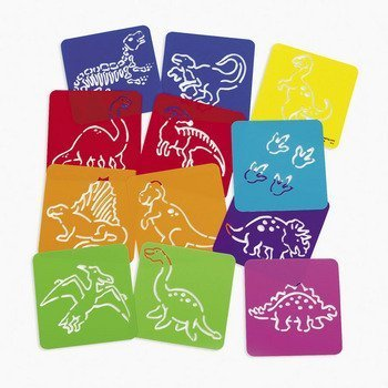 Dozen Plastic Dinosaur Stencils