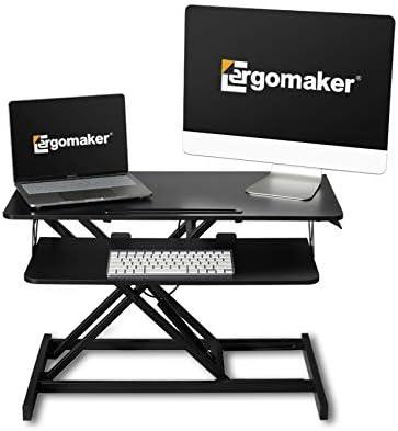 ERGOMAKER In hoogte verstelbare staande bureauconverter81cm 32 inch breed platform tafelblad werkstationQuick Sit to Stand Desk Riser voor dubbele monitoren zwart