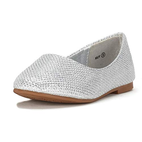 DREAM PAIRS Big Kid Muy Silver Glitter Girl's Mary Jane Ballerina Flat Shoes - 4 M US Big Kid]()