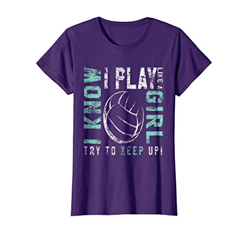 Womens Volleyball T Shirt For Teen Girls - Play Like A Girl Tee Large Purple