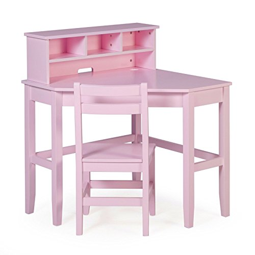 - Juvenile Kids Solid Wood Compact Corner Storage Desk With Reversible Hutch Chair and Our Exclusive Ebook Included (Pink)