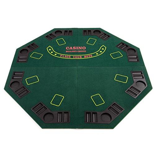 Faltbare Tischauflage Pokertisch Casino Pokerauflage Texas Holdem Poker Auflage achteckig mit 8 Getränkehaltern und Chiptrays inkl.Tragetasche