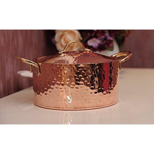 New DEMMEX 1.2MM Thick Hammered Copper Soup Pot Stew Pan Casserole, 3.4 Quart (3.4 Quart)