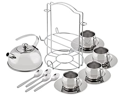 Kidzlane Play Tea Set - Stainless Steel - with Carry Caddy - Toy Tea Set for Kids, 13 Piece Pretend Playset