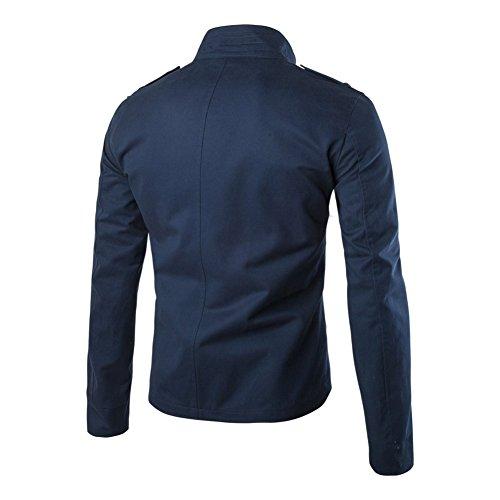 Coton Manches Coupe Bleu Éclair Boutons Ajustée Longues Léger Col Homme Décontracté Fermeture Veste Style Et tqx5avUI6w