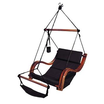 hammaka nami deluxe hanging hammock lounger chair in black amazon     hammaka nami deluxe hanging hammock lounger chair in      rh   amazon