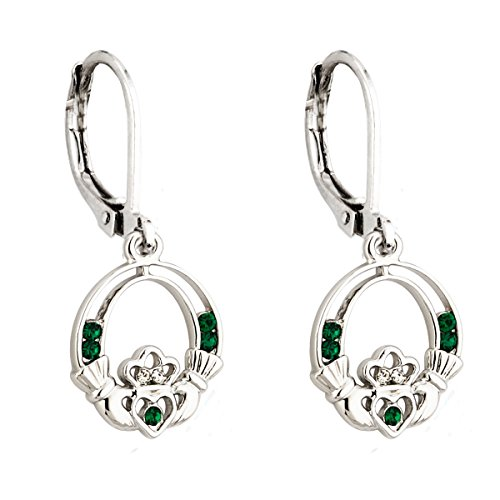 - Claddagh Earrings Irish Celtic Green Crystal Silver Drops Made in Ireland