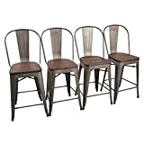 wood bar stool chairs - Yongchuang Counter Bar Stools Chairs Set for Indoor-Outdoor(Pack of 4) (24