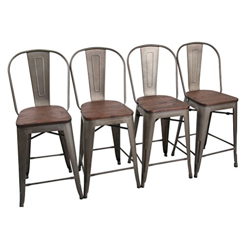 Yongchuang Counter Bar Stools Chairs Set for Indoor-Outdoor(Pack of 4) (24