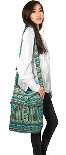 Tribe Azure Blue Aztec Canvas Large Hobo Cross body Shoulder Sling Slouch Casual Shopping Market Bag Photo #2