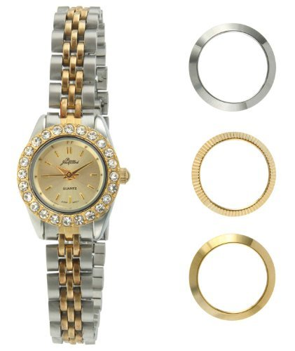 - Pierre Jacquard BZ6 Women's Two-Tone Bezel Interchangable Gift Set Watch