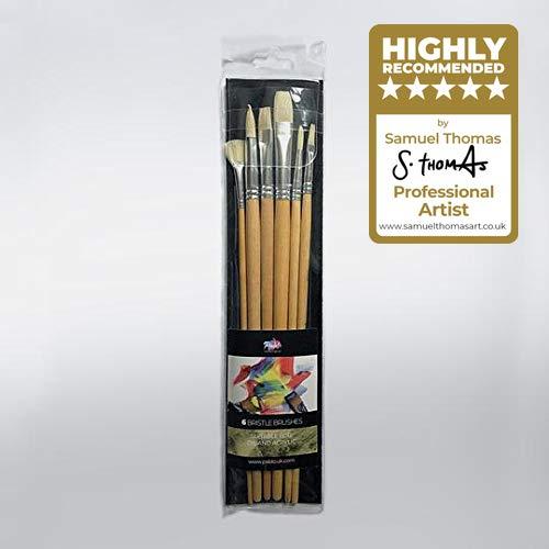 setola oil Paint Brush set–manico lungo (portafoglio di 6)–Pablo®–con setole naturali, per materiali di alta qualità fibre (adatto per olio e acrilico pittura)