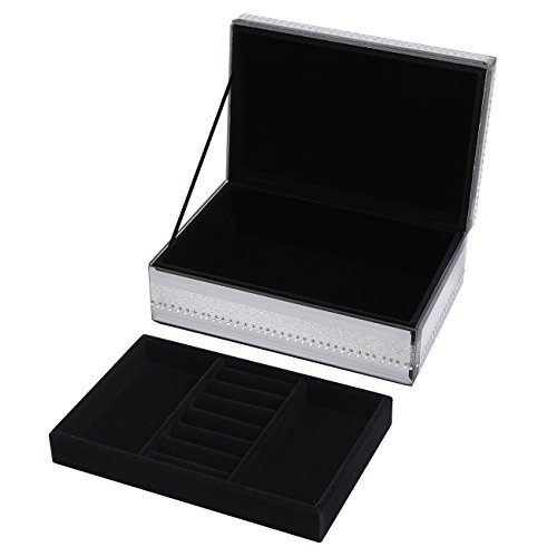 Printed Glass Jewelry Box Mosaic Crystal Shining Powder Jewelry Accessories Case,Clamshell by K&P