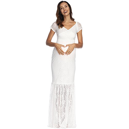 COSYOU Sexy Deep V-Neck Maternity Short Sleeve Summer White Lace Dress Beach Maxi Dress Baby Shower Party Dress (L, White 2)]()