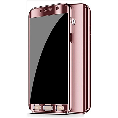 Galaxy S7 Edge Case, Ultra Slim Electroplate 360 Degree Full Body Protection Mirror Case With Tempered Glass Screen Hard PC Protector For Samsung Galaxy S7 Edge (Rose Gold) (Screen Case Mirror Protector)