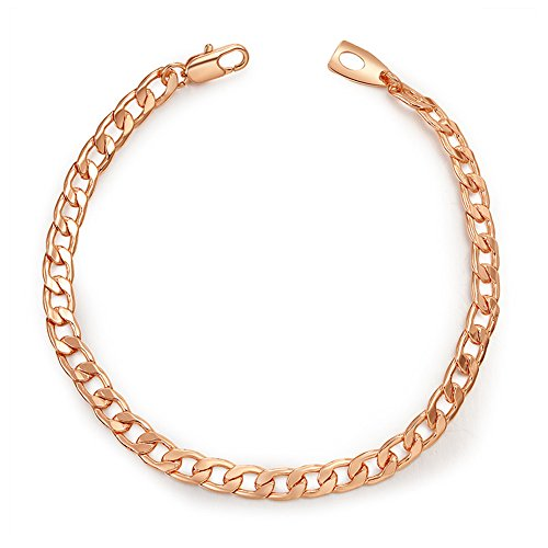 Stainless Steel 5mm Cuban Curb Chain Bracelet (Gold Plated) - 2