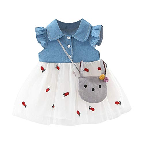Toddler Baby Kids Girls Clothes Denim Floral Swing Skirt Patchwork Ruched Print Tulle Dress Princess -