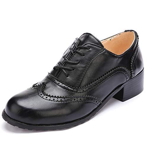 Wingtip Brogue Lace Up Low Heel Dress Oxfords, Black, 7 M US ()