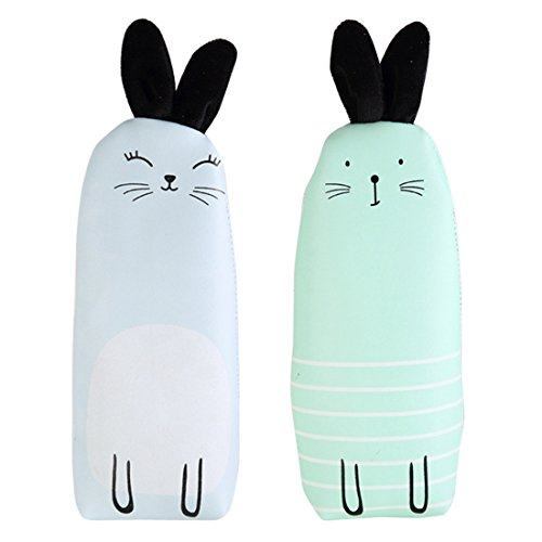 iSuperb 2 Pack Cartoon Rabbit Ears Pencil Case PU Leather Cute Animal Stationery Pouch Cosmetic Bag (blue+green)