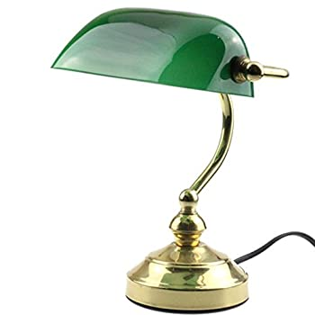 """RUDY Bankers Desk Lamp 15""""H, Green Glass Shade with Brushed Gold Finish Brass Base - Elegant Home Accent and Perfect Gift"""