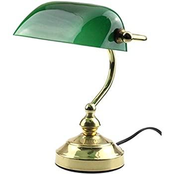 Rudy bankers desk lamp 15h green glass shade with brushed gold rudy bankers desk lamp 15h green glass shade with brushed gold finish brass aloadofball Images