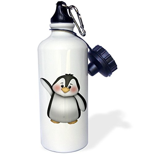 3dRose Cute Black and White Waving Penguin Illustration-Sports Water Bottle, 21oz (wb_217067_1), ()