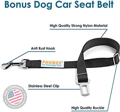 PAWBEE cubierta de asiento trasero impermeable para mascotas, antideslizante, a prueba de arañazos – SUV, camioneta, coche, hamaca de mascota, con ventana frontal de malla, resistente, para perros 4